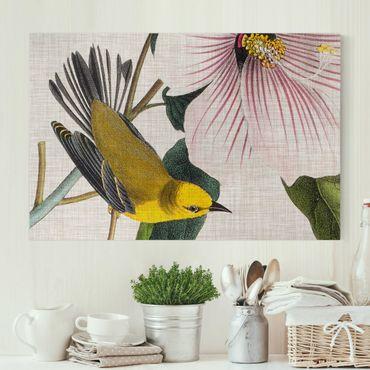 Stampa su tela - Uccello su lino Giallo I - Orizzontale 3:2