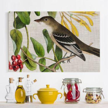 Stampa su tela - Bird On lino giallo II - Orizzontale 3:2