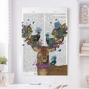 Stampa su tela - Fowler - cervo con Piccioni - Verticale 2:3