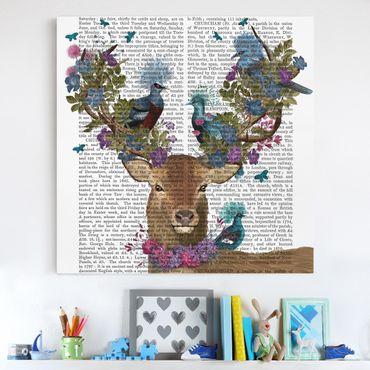 Stampa su tela - Fowler - cervo con Piccioni - Quadrato 1:1