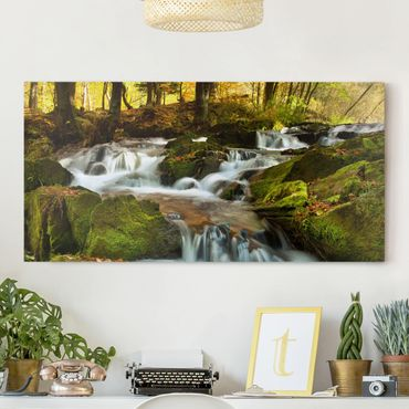 Stampa su tela - Waterfall Autumnal Forest - Orizzontale 2:1