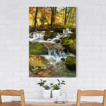 Stampa su tela Waterfall autumnal forest - Verticale 2:3