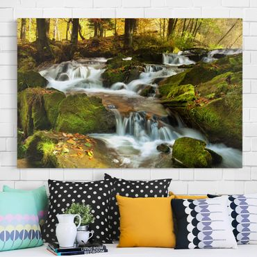 Stampa su tela - Waterfall autumnal forest - Orizzontale 3:2