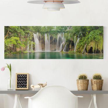 Stampa su tela - Waterfall Plitvice Lakes - Panoramico