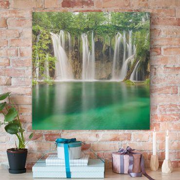 Stampa su tela - Waterfall Plitvice Lakes - Quadrato 1:1