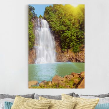 Stampa su tela Waterfall romance - Verticale 2:3