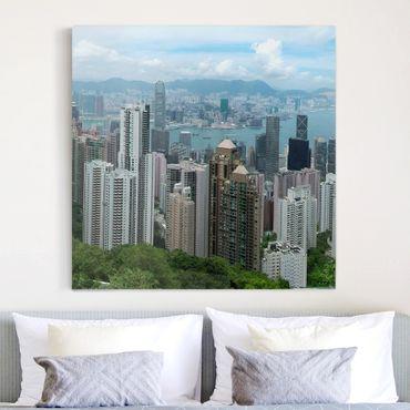 Stampa su tela - Watching Hongkong - Quadrato 1:1