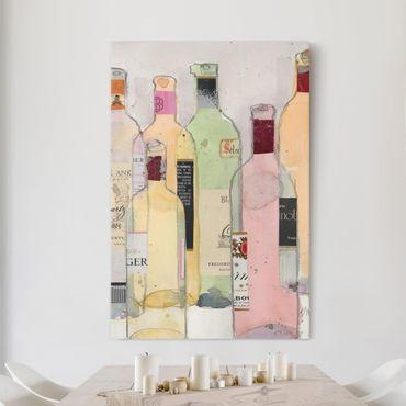 Stampa su tela - Bottiglie di vino in acquerello I - Verticale 2:3