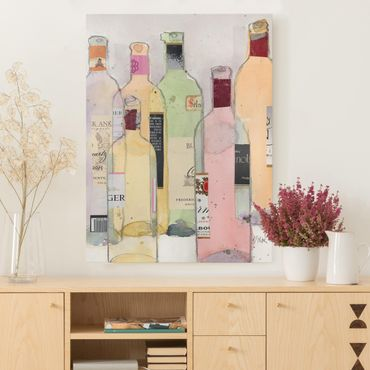 Stampa su tela - Bottiglie Di Vino In Acquerello I - Verticale 3:4