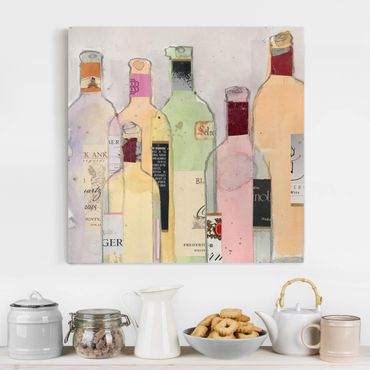 Stampa su tela - Bottiglie di vino in acquerello I - Quadrato 1:1
