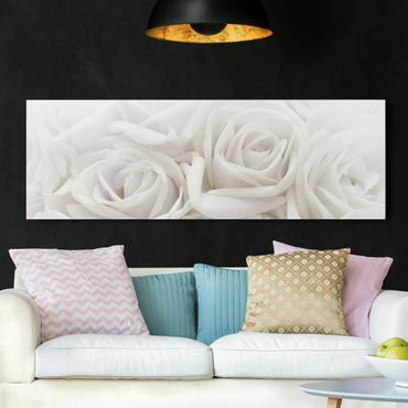 Stampa su tela - White Roses - Panoramico
