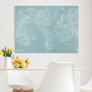 Stampa su tela - World Map In Ice Blue - Orizzontale 4:3