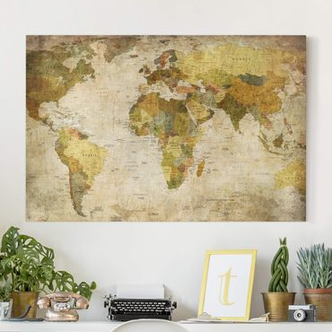Stampa su tela - Map of the world - Orizzontale 3:2