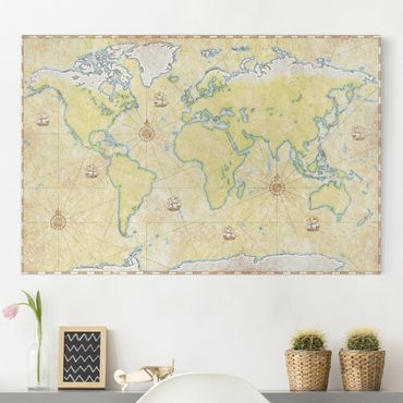 Stampa su tela - World Map - Orizzontale 3:2