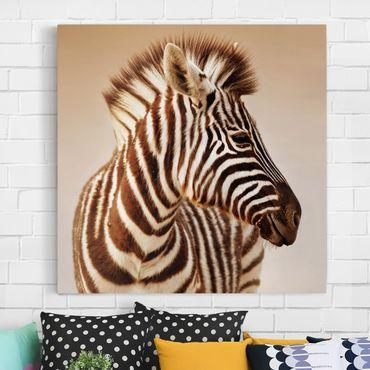 Stampa su tela - Zebra Baby Portrait - Quadrato 1:1