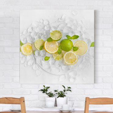 Stampa su tela - Citrus Fruits On Ice - Quadrato 1:1