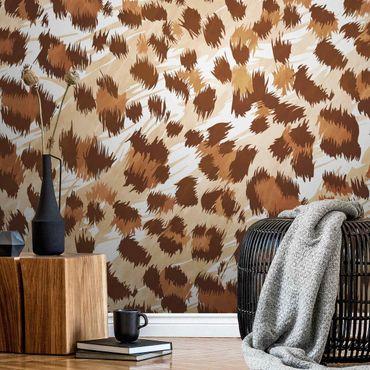 Carta da parati metallizzata - Fantasia leopardata con struttura in acquerello dai toni marroni