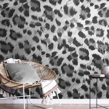 Carta da parati metallizzata - Motivo leopardato con struttura in acquerello grigio