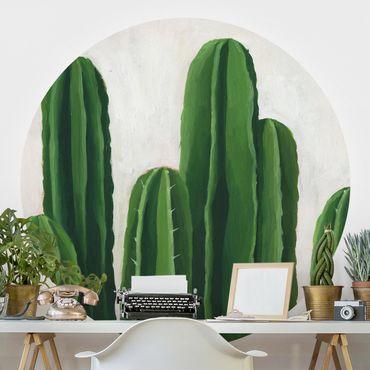 Carta da parati rotonda autoadesiva - piante preferite - Cactus