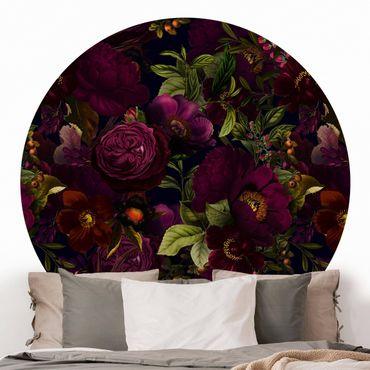 Carta da parati rotonda autoadesiva - Oscuri fiori viola