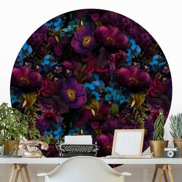 Carta da parati rotonda autoadesiva - Fiori viola con fiori blu