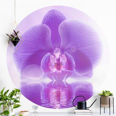 Carta da parati rotonda autoadesiva - Orchidea viola su acqua
