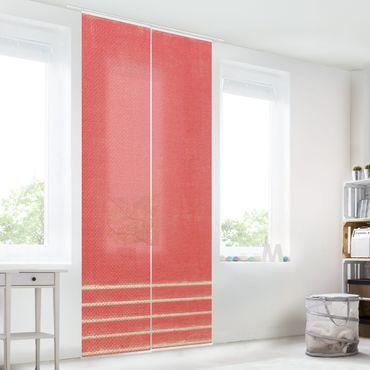 Tenda scorrevole set -Incontro di linee su rosso - Pannello