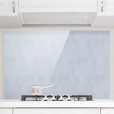 Paraschizzi in vetro - Fantasia di linee e timbri in blu - Formato orizzontale 3:2