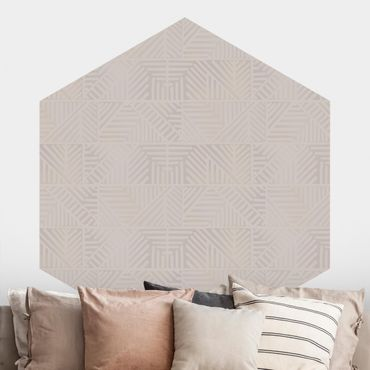 Carta da parati esagonale adesiva con disegni - Fantasia di linee e timbri in grigio talpa