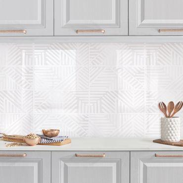 Rivestimento cucina - Fantasia di linee e timbri in bianco