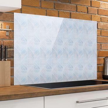 Paraschizzi in vetro - Fantasia di linee gradiente in blu - Formato orizzontale 3:2