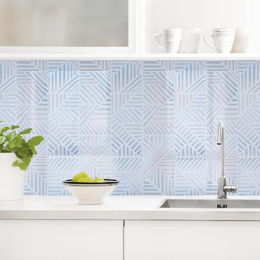 Rivestimento cucina - Fantasia di linee gradiente in blu