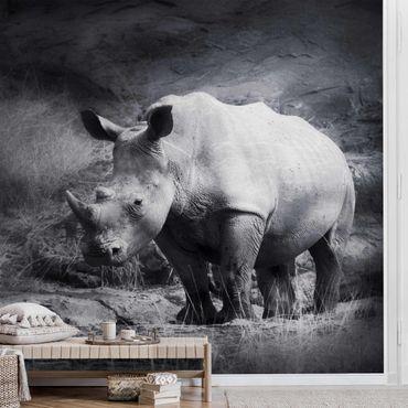 Carta da parati metallizzata - Rinoceronte in solitudine