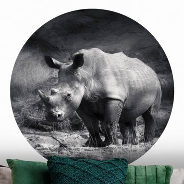 Carta da parati rotonda autoadesiva - Lonesome Rhinoceros