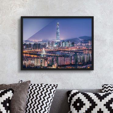 Poster con cornice - Torre del mondo lotte di notte