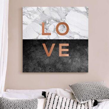 Quadro in vetro - Love in rame e marmo