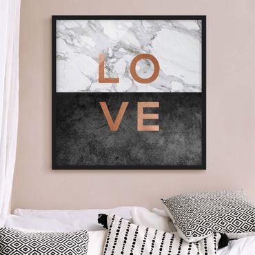 Poster con cornice - Love in rame e marmo