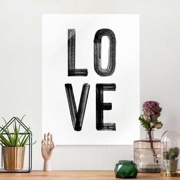 Quadro in vetro - Love tipografia in nero