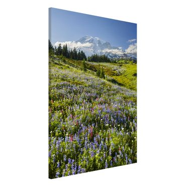 Lavagna magnetica - Mountain Meadow With Flowers In Front Of Mt. Rainier - Formato verticale 2:3