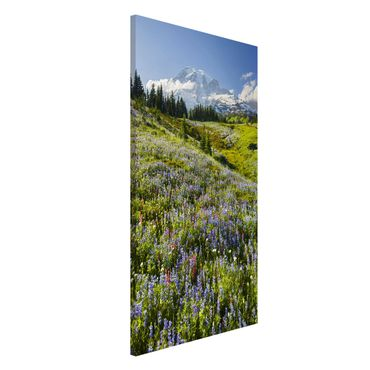 Lavagna magnetica - Mountain Meadow With Flowers In Front Of Mt. Rainier - Formato verticale 4:3