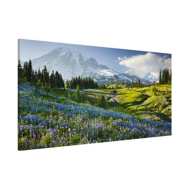 Lavagna magnetica - Mountain Meadow With Flowers In Front Of Mt. Rainier - Panorama formato orizzontale