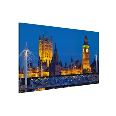 Lavagna magnetica - Big Ben And Westminster Palace In London At Night - Formato orizzontale