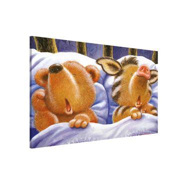 Lavagna magnetica - Orsetto Buddy - In Bed - Formato orizzontale 3:2
