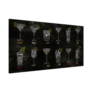 Lavagna magnetica - Cocktail Menu - Panorama formato orizzontale