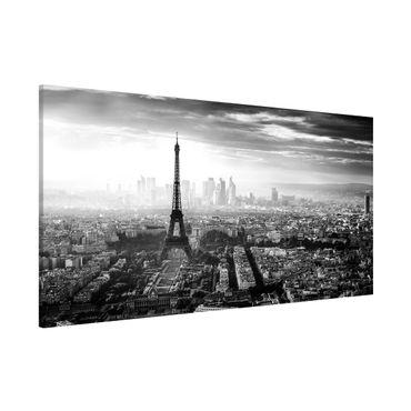 Lavagna magnetica - La Torre Eiffel From Above Bianco e nero - Panorama formato orizzontale