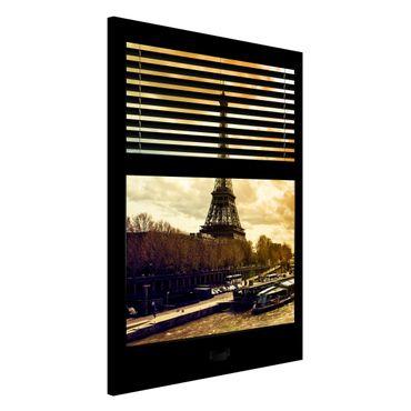 Lavagna magnetica - Window Blinds Paris Eiffel Tower Suns - Formato verticale