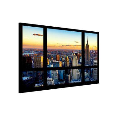 Lavagna magnetica - Window View Sunrise New York - Formato orizzontale