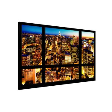 Lavagna magnetica - Windows Overlooking New York At Night - Formato orizzontale