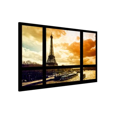Lavagna magnetica - Window Overlooking Paris Eiffel Tower Sunset - Formato orizzontale