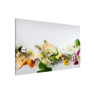 Lavagna magnetica - Fresh Herbs With Edible Flowers - Panorama formato orizzontale